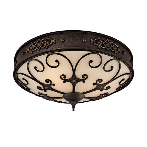River Crest Rustic Iron Three-Light Flush Mount with Grille