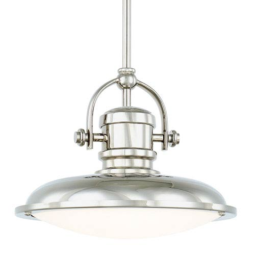 Polished Nickel One-Light LED 12-Inch Wide Pendant