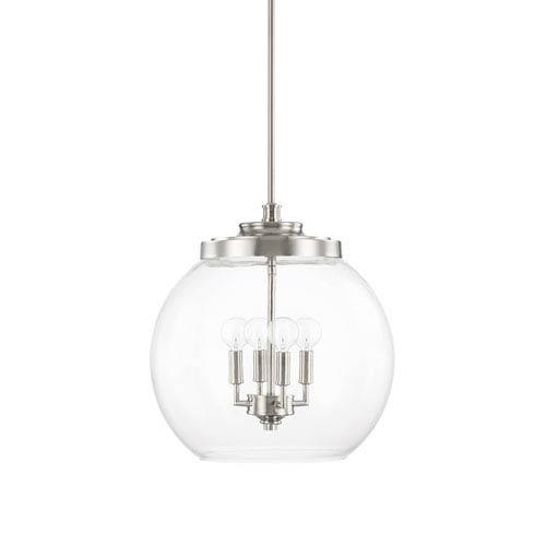 Capital Lighting Fixture Company Mid-Century Polished Nickel Four-Light Pendant