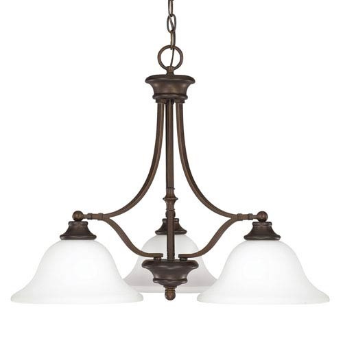Capital Lighting Fixture Company Belmont Burnished Bronze Three-Light Chandelier with Soft White Glass