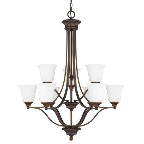 Capital Lighting Fixture Company Belmont Burnished Bronze Nine-Light Chandelier with Soft White Glass