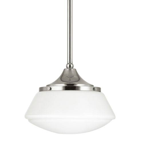 Polished Nickel One-Light Pendant with Milk Glass