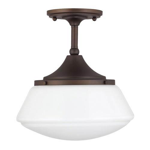 Capital Lighting Fixture Company Burnished Bronze One-Light Semi-Flush with Milk Glass