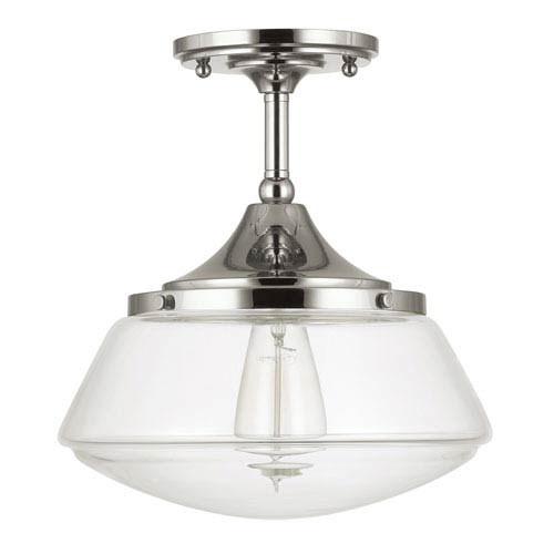 Polished Nickel One-Light Semi-Flush with Clear Glass