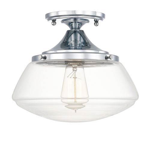 Schoolhouse Chrome One-Light Clear Glass Semi-Flush Mount