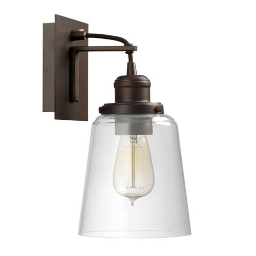 Burnished Bronze One-Light Wall Sconce with Clear Glass