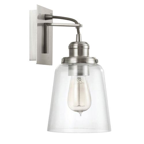 Brushed Nickel One-Light Wall Sconce with Clear Glass