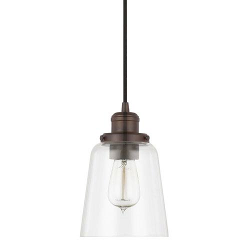 Capital Lighting Fixture Company Burnished Bronze One-Light Pendant with Clear Glass