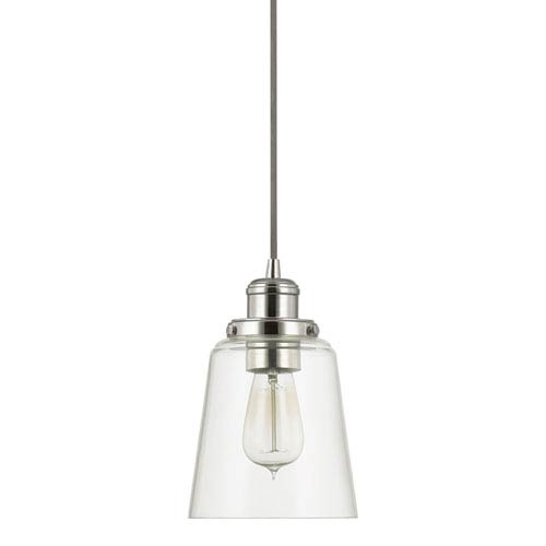 Polished Nickel One-Light Mini-Pendant with Clear Glass