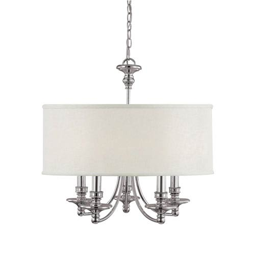Midtown Polished Nickel Five-Light Chandelier