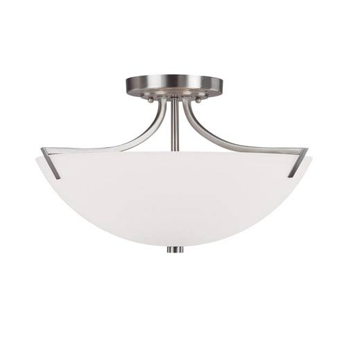 Capital Lighting Fixture Company Stanton Brushed Nickel Three-Light Semi Flush Mount with Soft White Glass
