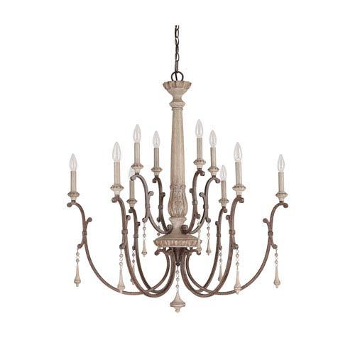 Cau French Oak 10 Light Chandelier With Solid Wood Column