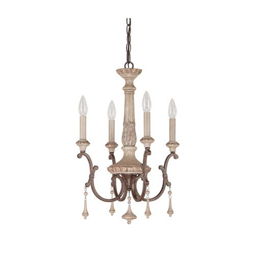 Chateau French Oak Four Light Chandelier with Solid Wood Column