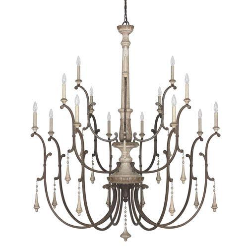 Chateau French Oak Sixteen-Light Chandelier