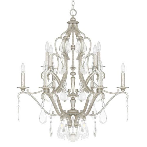 Capital Lighting Fixture Company Blakely Antique Silver Ten-Light Chandelier with Clear Crystals