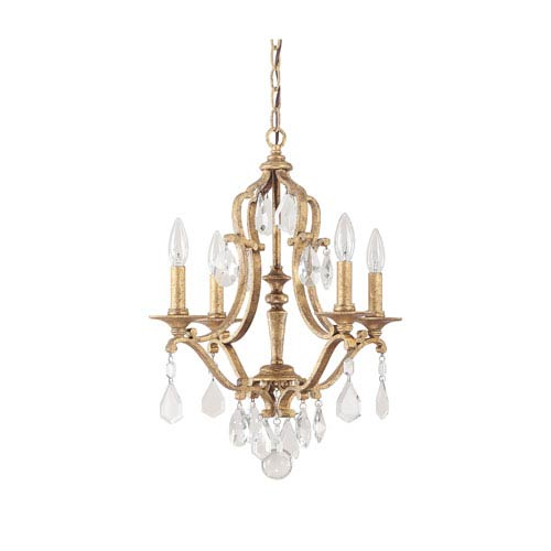 Capital Lighting Fixture Company Blakely Antique Gold Four Light Chandelier with Crystals