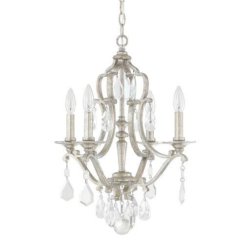 Blakely Antique Silver Four-Light Mini Chandelier with Clear Crystals