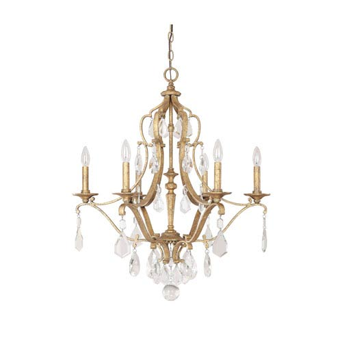 Blakely Antique Gold Six Light Chandelier with Crystals