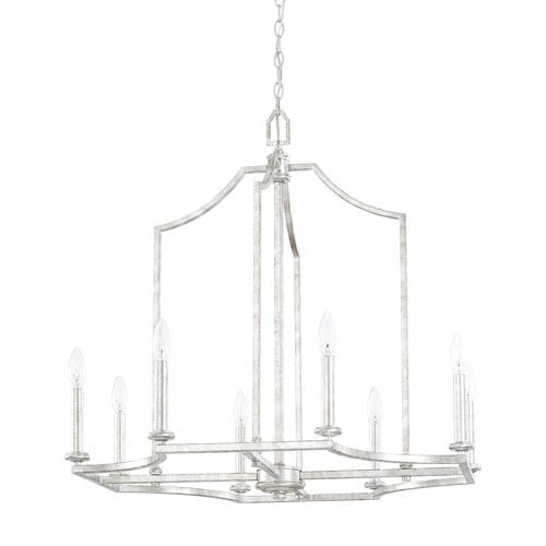 Capital Lighting Fixture Company Oxford Silver Patina Eight Light Chandelier