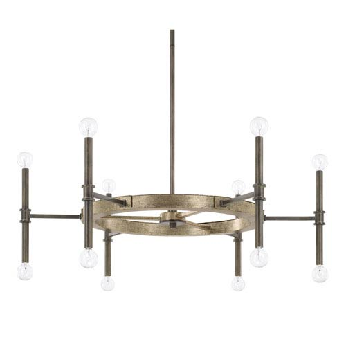 Gavin Iron and Gold 37-Inch 12-Light Chandelier