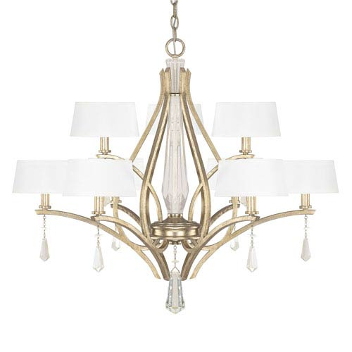 Margo Winter Gold Nine-Light Chandelier with Fabric Shade