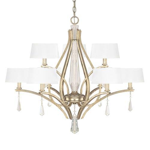 Capital Lighting Fixture Company Margo Winter Gold Nine-Light Chandelier with Fabric Shade