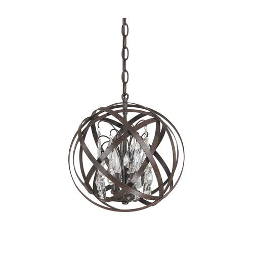 Axis Russet Three Light Pendant with Crystals