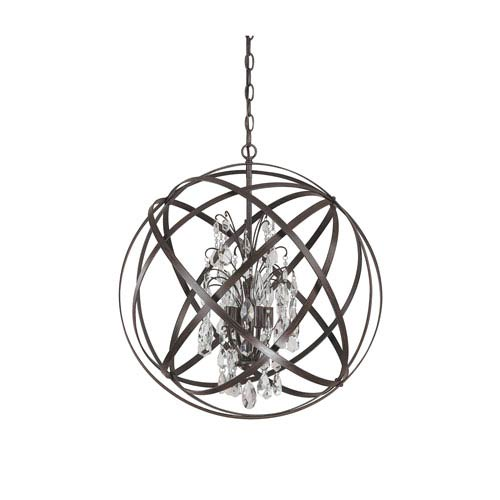 Capital Lighting Fixture Company Axis Four Light Pendant with Crystals - Russet