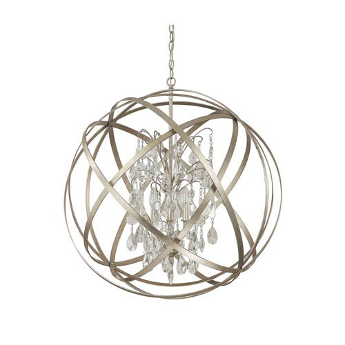 Axis Winter Gold Six Light Pendant with Crystals