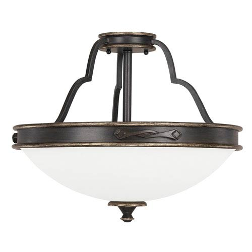 Capital Lighting Fixture Company Wyatt Surrey Three-Light Semi-Flush with Misty White Glass