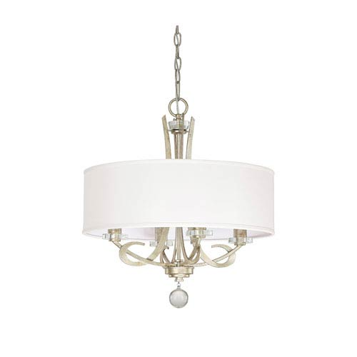 Hutton Winter Gold Four Light Chandelier with Drum Shade