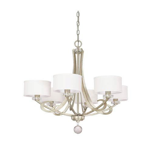 Hutton Winter Gold Six Light Chandelier with Shades