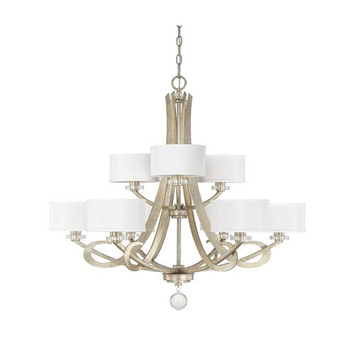 Hutton Winter Gold Nine Light Chandelier with Shades