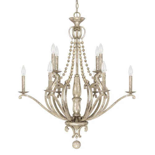 Adele Silver Quartz 10-Light Chandelier with Wood Bead