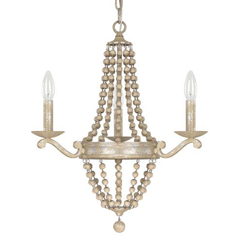 Adele Silver Quartz Three-Light Chandelier with Wood Bead