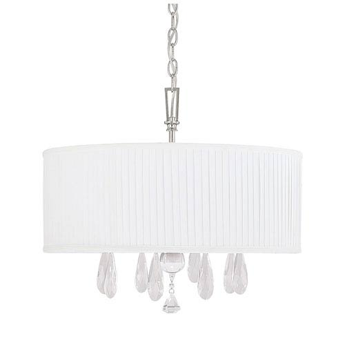 Alisa Polished Nickel Four Light Pendant with Shades and Crystals