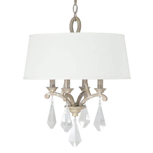 Capital Lighting Fixture Company Harlow Silver Quartz Four-Light Pendant with Crystal