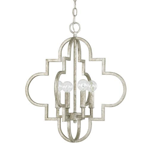 Ellis Antique Silver Four-Light Nineteen-Inch Pendant