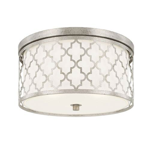 Ellis Antique Silver Three-Light Flush Mount
