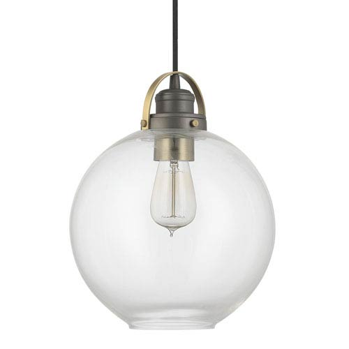 Capital Lighting Fixture Company Graphite and Aged Brass One-Light Pendant with Clear Glass