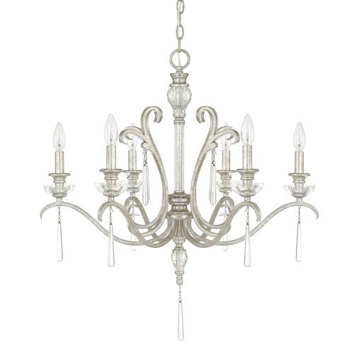 Celine Antique Silver Six-Light Chandelier