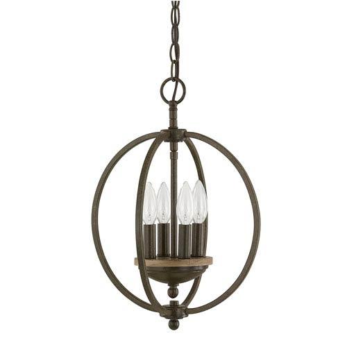 Capital Lighting Fixture Company Perry Bronze and Oak Six-Light Pendant
