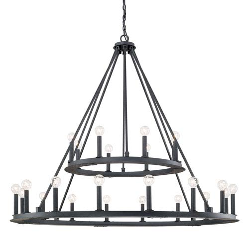 Pearson Black Iron Twenty-Four Light Chandelier