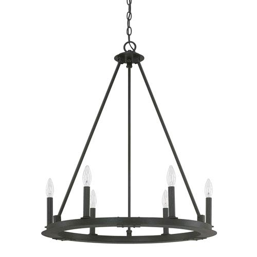 Pearson Black Iron Six-Light Chandelier