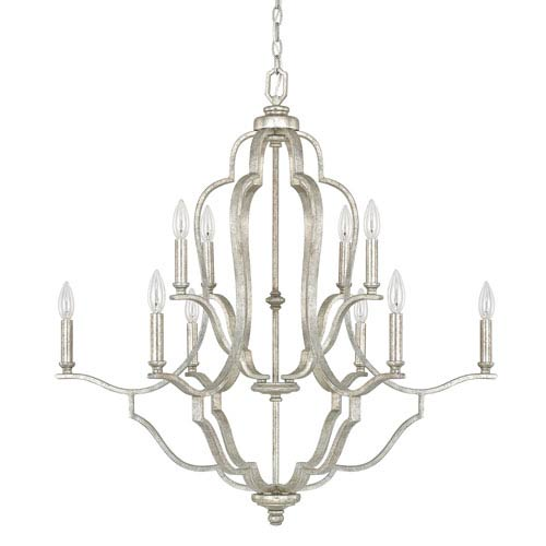 Blair Antique Silver Ten-Light Chandelier