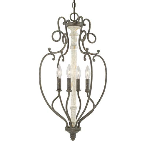 Vineyard French Country Four-Light 17-Inch Wide Foyer
