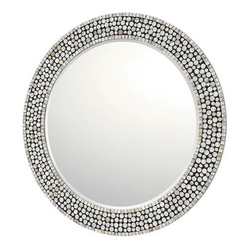 Grey, Silver, Black and Mother of Pearl Mirror
