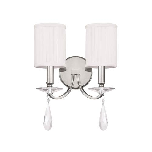 Alisa Polished Nickel Two Light Sconce with Crystals and Shades