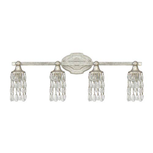 Blakely Antique Silver Four-Light Vanity with Clear Crystals