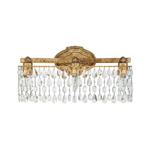 Blakely Antique Gold Three Light Vanity Fixture with Crystals